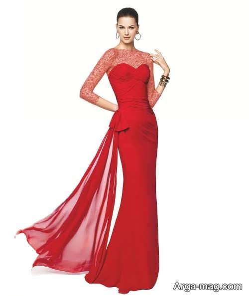 مدل لباس مجلسی قرمز کار شده با تور