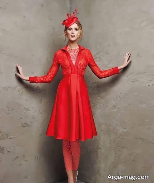 مدل لباس مجلسی کوتاه و قرمز