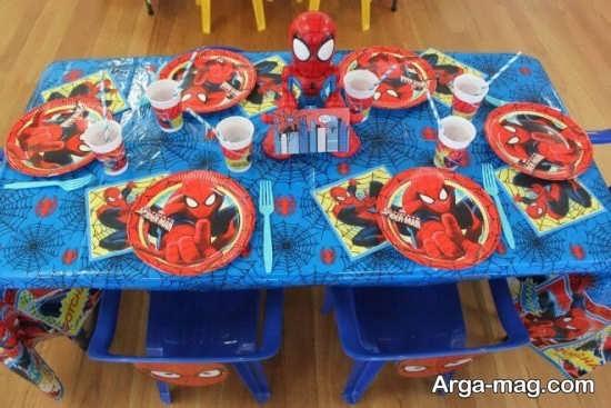 دکوراسیون زیبای میز تولد با تم مرد عنکبوتی