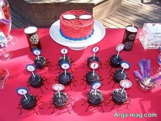 دیزاین شیک میز تولد با تم تولد مرد عنکبوتی