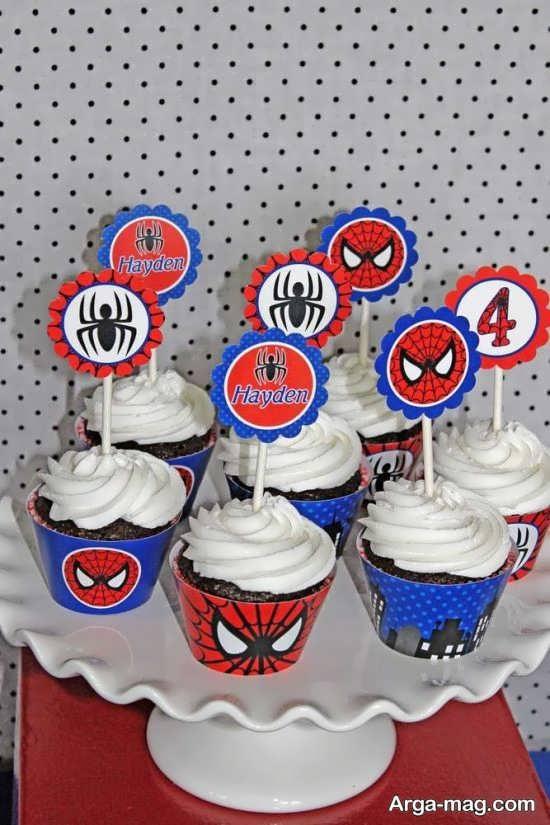 تزیین کاپ کیک با تم مرد عنکبوتی