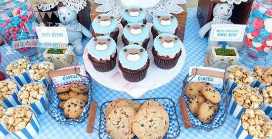 طراحی کاپ کیک تولد با تم تولد تدی