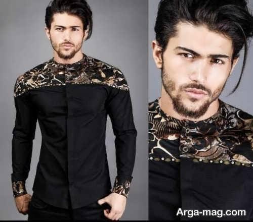 مدل لباس مشکی مردانه طرح دار