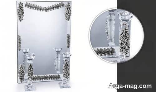 آینه و شمعدان کار شده و زیبا