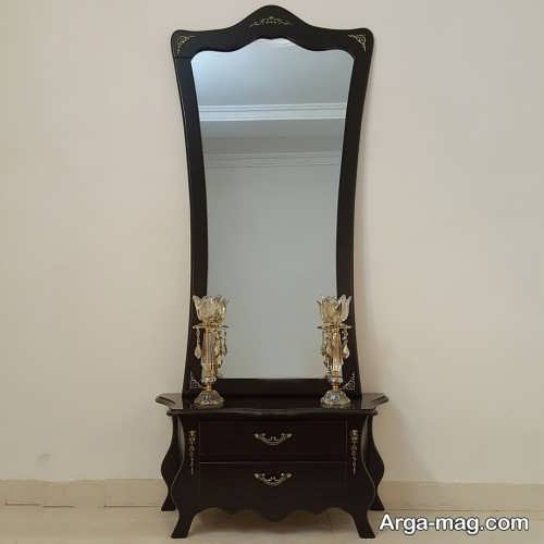 آینه و شمعدان چوبی و زیبا