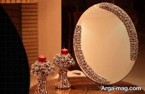 مدل آینه و شمعدان عروس کار شده