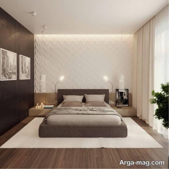 دیزاین زیبای بژ در اتاق خواب