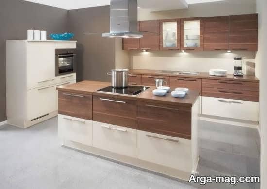دیزاین کرم قهوه ای آشپزخانه