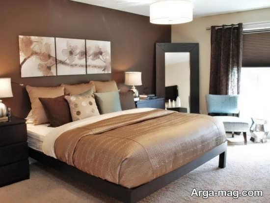 طراحی اتاق خواب با تم کرم قهوه ای