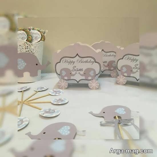 تزیینات ظروف تولد با تم فیل