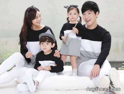 مدل لباس ست خانوادگی سفید و مشکی