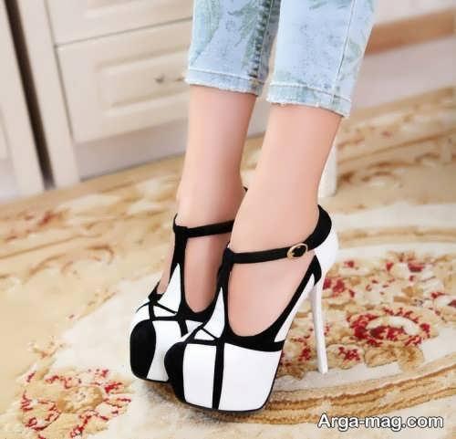 کفش مجلسی سفید و مشکی