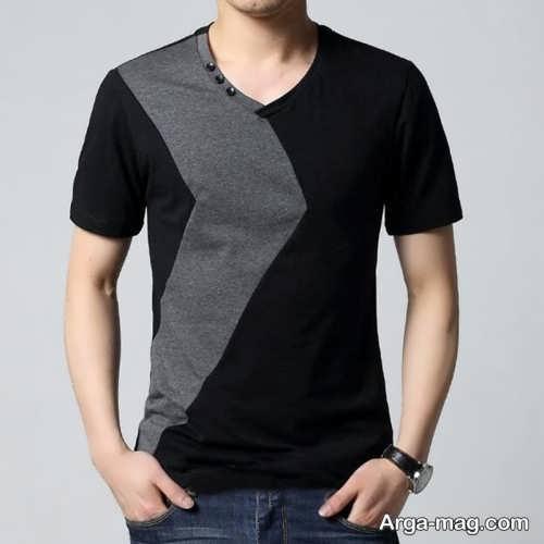 مدل تی شرت مشکی و خاکستری مردانه