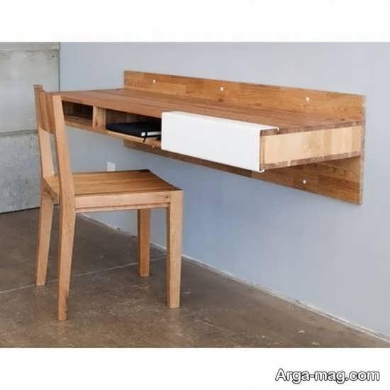میز کامپیوتر چوبی دیواری