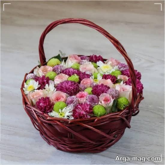 ترکیب رنگی تزیین کردن سبد گل