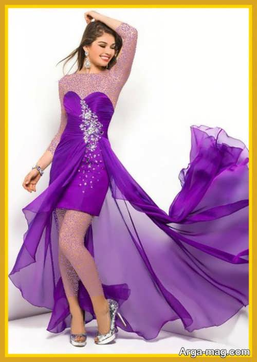 مدل لباس مجلسی بنفش