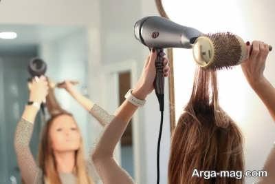 مراحل صاف کردن مو با سشوار