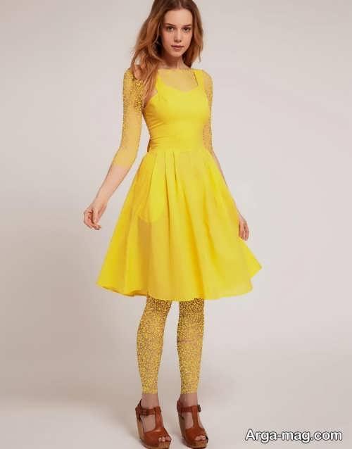 مدل لباس مجلسی زرد