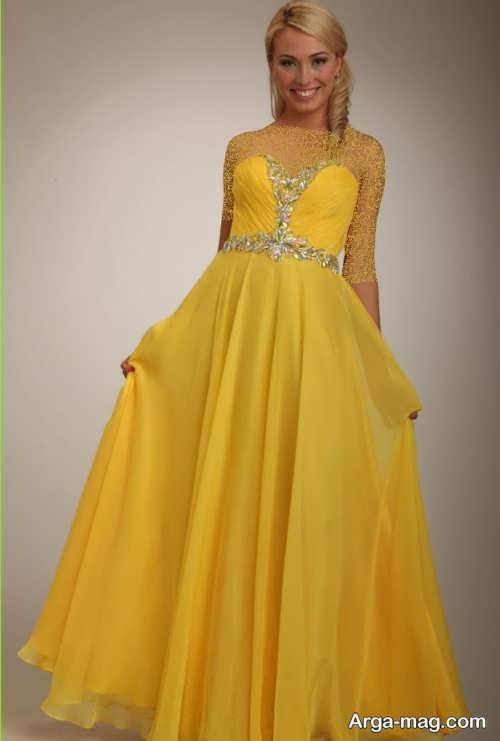 مدل لباس مجلسی بلند زرد
