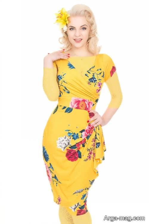 لباس مجلسی طرح دار و زرد