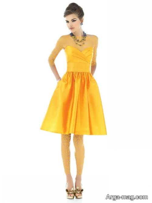 مدل پیراهن مجلسی زرد