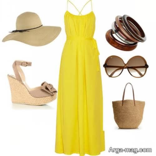 ست لباس مجلسی زرد