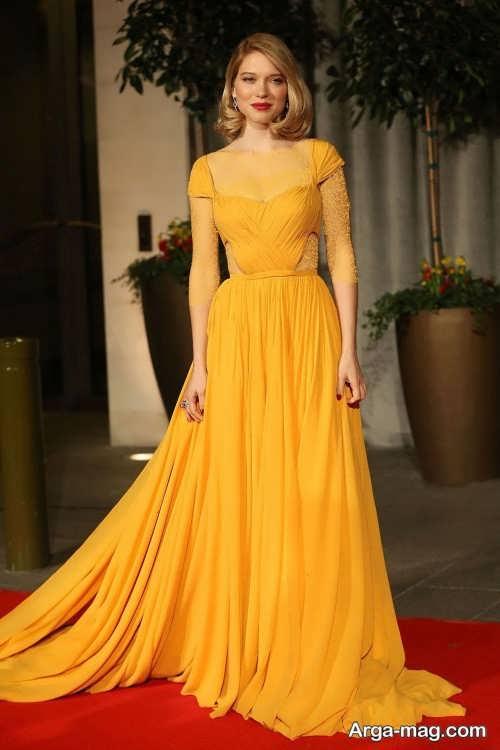 لباس مجلسی زرد و بلند