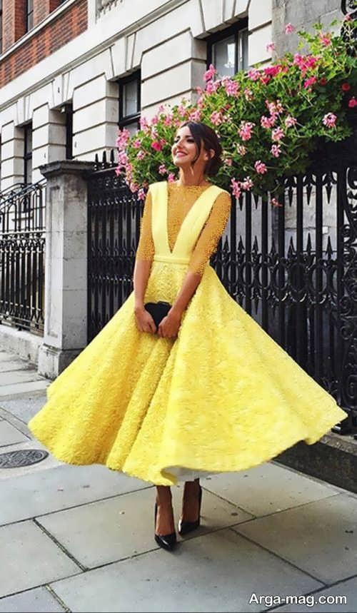 لباس مجلسی گیپور زرد