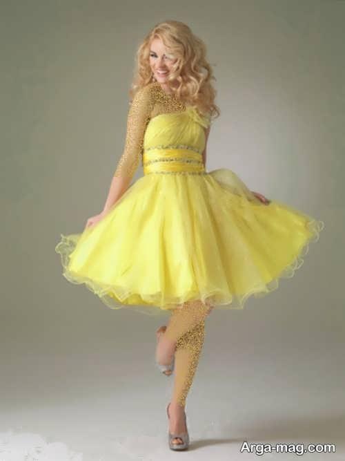لباس مجلسی زرد و کوتاه