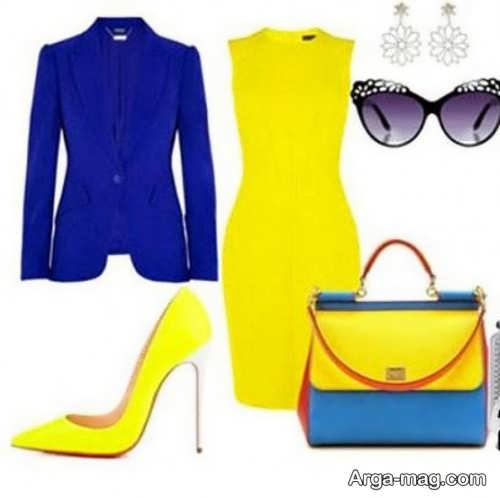 ست لباس مجلسی زرد و آبی