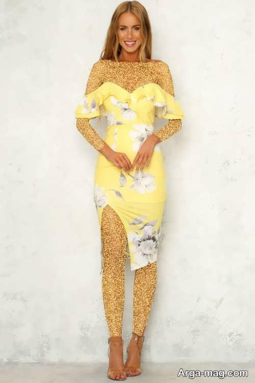 لباس مجلسی زرد طرح دار