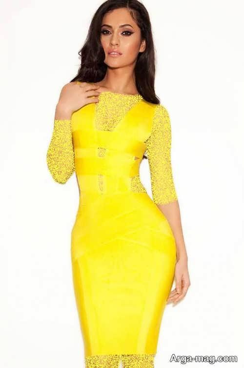 مدل لباس مجلسی شیک و زرد