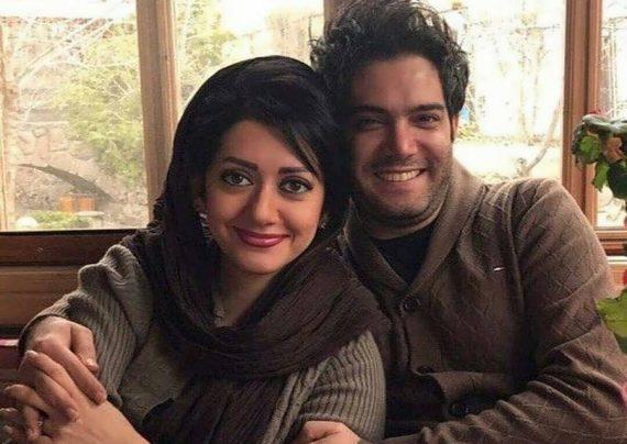 امیر علی نبویان و همسرش در میان هواداران