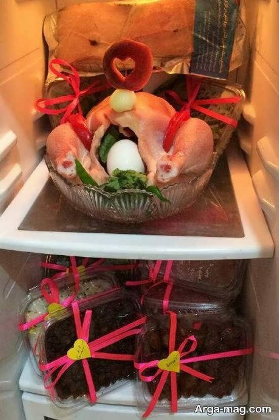 تزیین مواد غذایی یخچال عروس