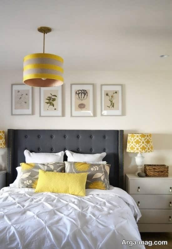 تم جذاب خاکستری و زرد در اتاق خواب