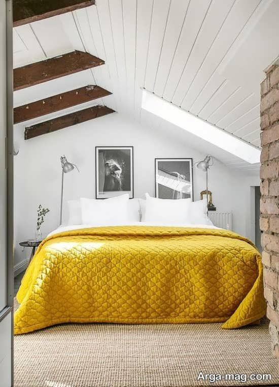 دکوراسیون زرد و خاکستری اتاق خواب