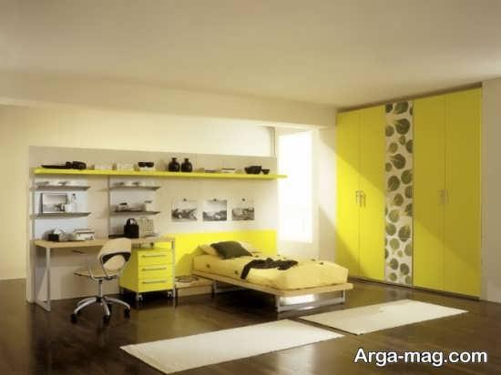 دیزاین شیک اتاق خواب زرد