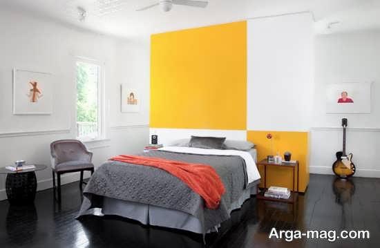 اتاق خواب با تم جذاب خاکستری و زرد