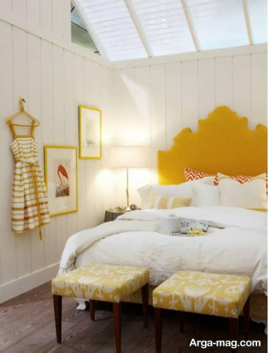 طراحی زیبای اتاق خواب با تم زرد