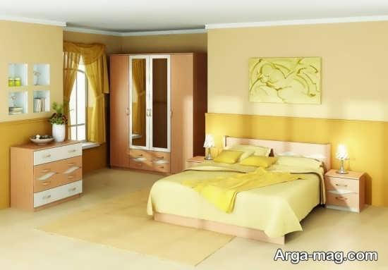 طراحی متفاوت اتاق خواب با تم زرد