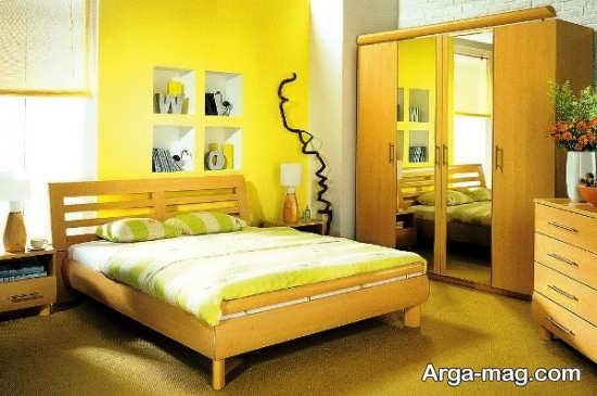 دکوراسیون جذاب اتاق خواب با تم زرد