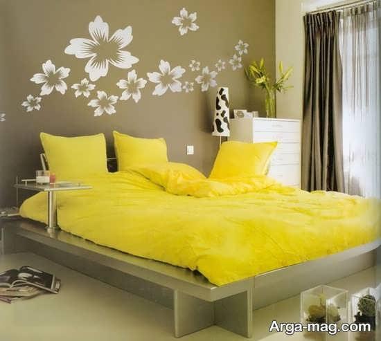 چیدمان زرد رنگ در اتاق خواب