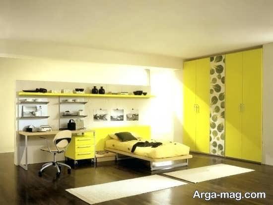 اتاق خواب لاکچری زرد رنگ