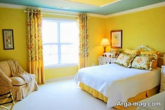 دیزاین اتاق خواب زرد رنگ