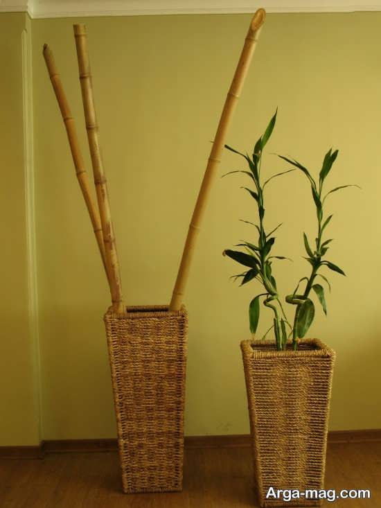 گلدان تزیینی با چوب بامبو