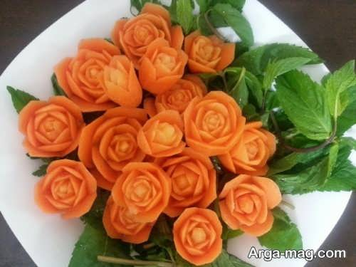 تزیین هویج به شکل دسته گل