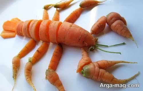 تزیین زیبا هویج به شکل خرچنگ