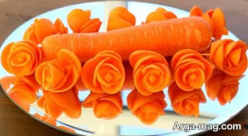 تزیین زیبا هویج به شکل گل رز