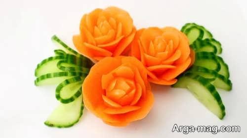 تزیین کردن هویج به شکل گل رز
