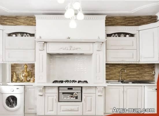 مدل کابینت کلاسیک سفید با طرح جذاب
